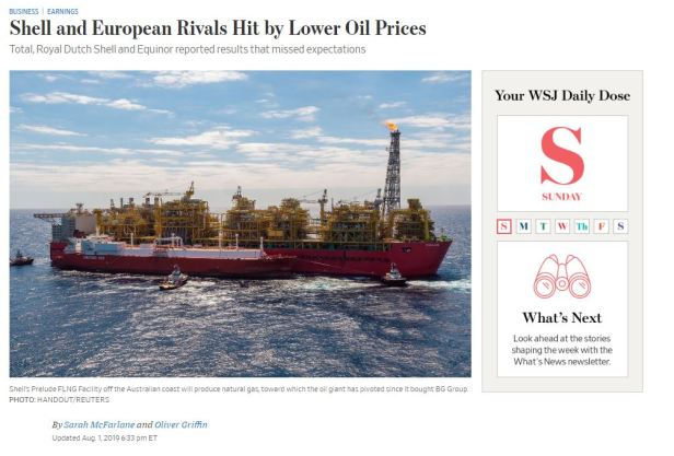 Shell WSJ earnins 2q